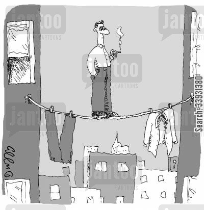 clothesline cartoon humor: Cigarette Break.