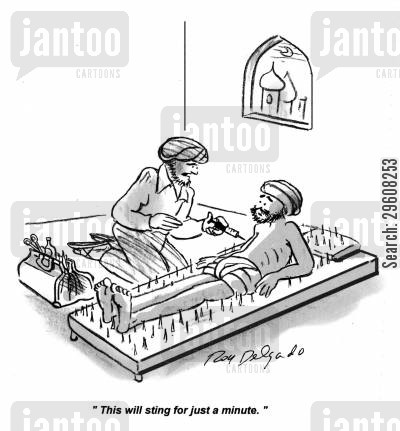 nails cartoon humor: 'This will sting for just a minute.'