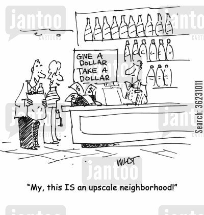 neighbouhoods cartoon humor: My, this IS an upscale neighborhood!