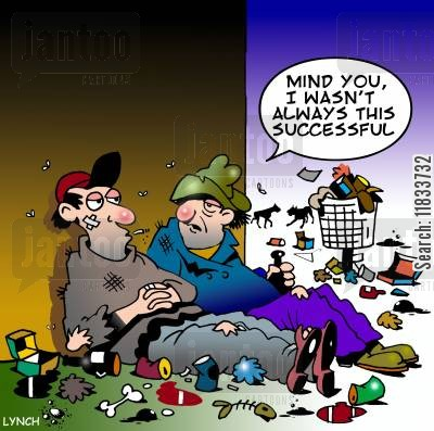 success story cartoon humor: 'Mind you I wasn't always this successful.'