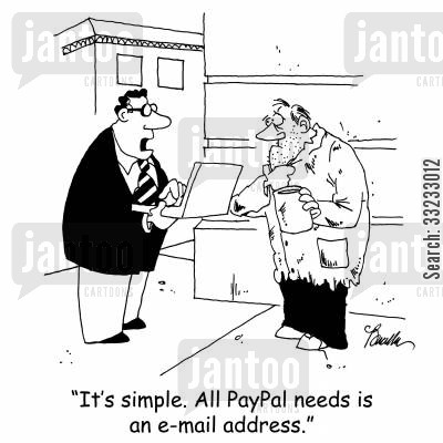 paypal cartoon humor: 'It's simple. All PayPal needs is an e-mail address.'