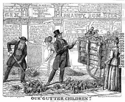 temperance cartoon humor: Criticism of Proposals to Send 'Gutter Children' Overseas