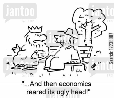 overthrown cartoon humor: '...And then economics reared its ugly head!'
