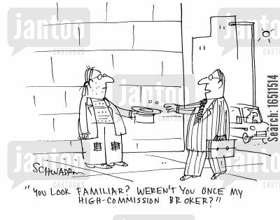 earning commission cartoon humor: 'You look familiar? Weren't you once my high-commission broker?'