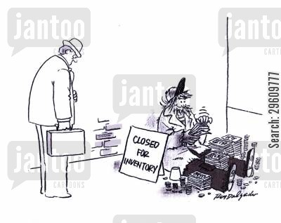 inventory cartoon humor: Closed for inventory.