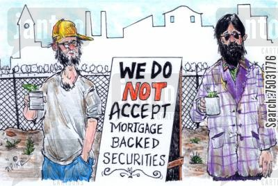 handout cartoon humor: Homeless men will not accept mortgage-backed securities as a donation.