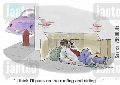 telesales cartoon humor: I think I'll pass on the roofing and siding...'