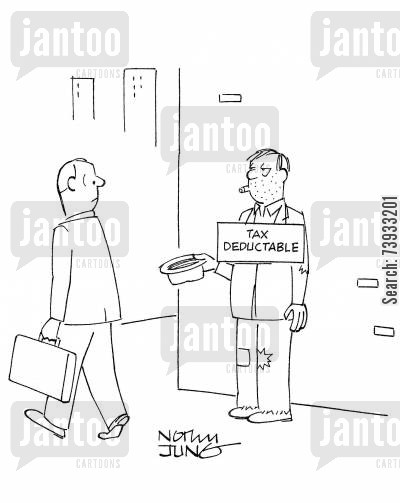 tax deduction cartoon humor: Hobo soliciting money has sign donations are tax deductable.