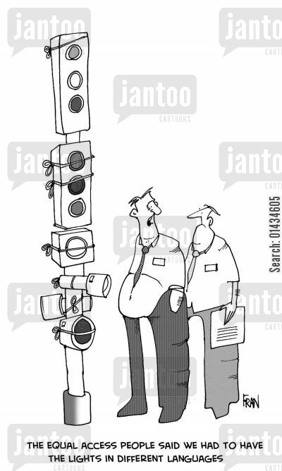 translations cartoon humor: The equal access people said that we had to have the lights in different languages.