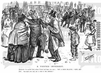 vested interests cartoon humor: Some bystanders assisting a man whose friend has been run over.