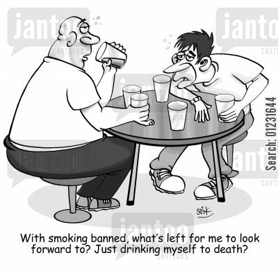 drinking culture cartoon humor: With smoking banned, what left for me to look forward to? Just drinking myself to death?