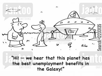 illegial aliens cartoon humor: 'Hi! -- we hear that this planet has the best unemployment benefits in the Galaxy!'