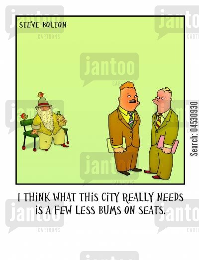 park benches cartoon humor: 'I think what this city really needs is a few less bums on seats.'