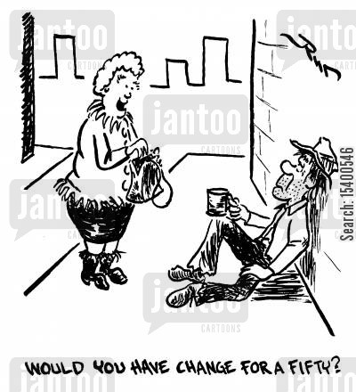 impropriety cartoon humor: Would you have change for a fifty?
