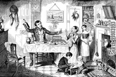victorian england cartoon humor: The Bottle - Drink is Brought out at Dinner