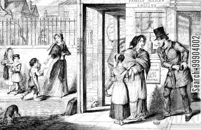 victorian england cartoon humor: The Bottle- Family Driven to the Streets to Beg