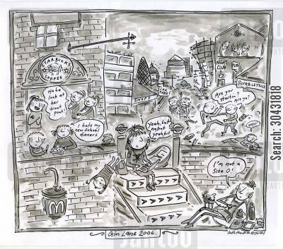chiswick cartoon humor: Gin Lane.