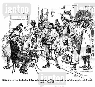 victorian tourist cartoon humor: Brown, who has had a hard day's sight seeing in Tunis . . .