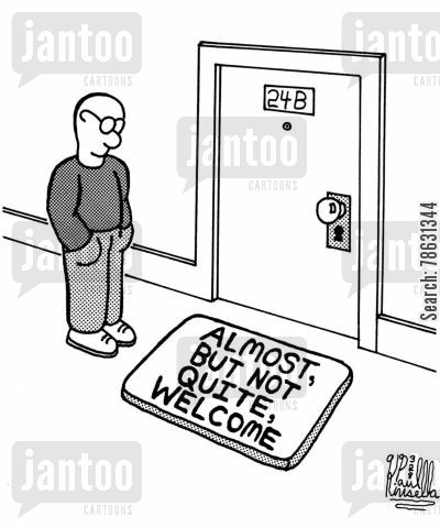 neighborly cartoon humor: Almost, but not quite, welcome.