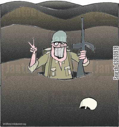 marines cartoon humor: Last man standing?