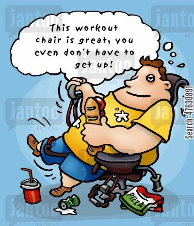 get up cartoon humor: Obese man on workout chair.