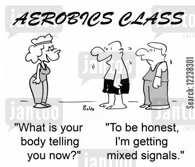 aerobics instructors cartoon humor: AEROBICS CLASS, 'What is your body telling you now?', 'To be honest, I'm getting mixed signals.'