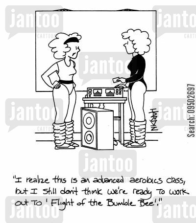 aerobics instructor cartoon humor: 'I realize this is an advances aerobics class, but I still don't think we're ready to work out to 'Flight of the Bumble Bee'!'