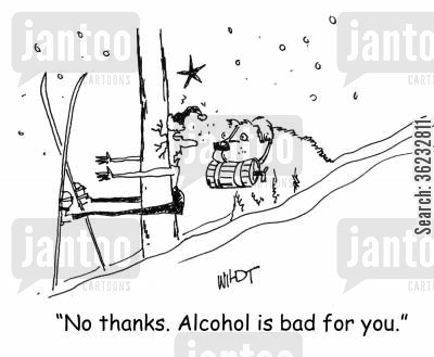 bernard cartoon humor: injured skier says medicinal brandy is bad