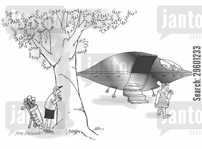 alien invasion cartoon humor: Golfer watches alien space ship.