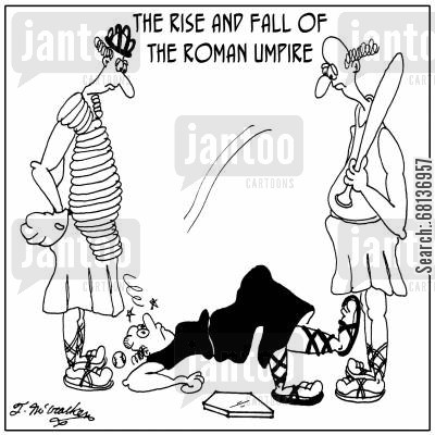 edward gibbon cartoon humor: The Rise and Fall of the Roman Umpire