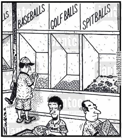 chew cartoon humor: Baseballs Golf Balls Spitballs.