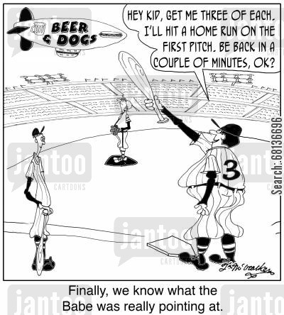 beer cartoon humor:  'Hey kid, get me three of each. I'll hit a home run on the first pitch. Be back in a couple of minutes, OK?' 'Finally, we know what the Babe was really pointing at.'