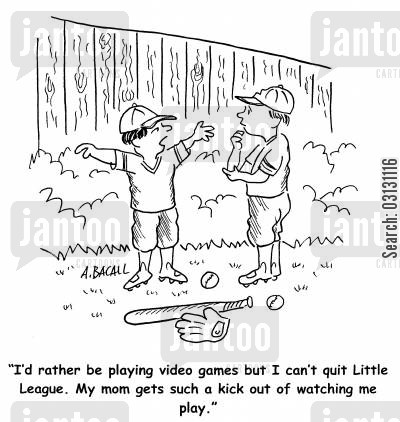 little league baseball cartoon humor: I'd rather be playing video games but I can't quit Little League...