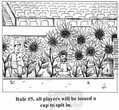 sanitation cartoon humor: 'Rule #5, all players will be issued a cup to spit in.'