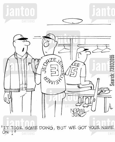 coaching cartoon humor: 'It took some doing, but we got your name on!'