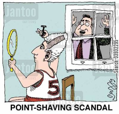 basketball player cartoon humor: POINT-SHAVING SCANDAL