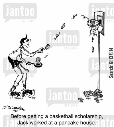 flapjacks cartoon humor: Before getting a basketball scholarship, Jack worked at a pancake house.