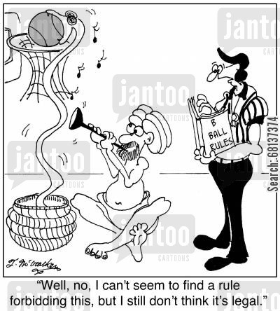 game rules cartoon humor: 'Well, no, I can't seem to find a rule forbidding this, but I still don't think it's legal.'
