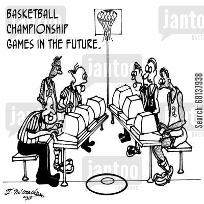 refereeing cartoon humor: Basketball championship games in the future.