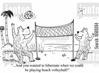 beach volleyball cartoon humor: '...And you wanted to hibernate when we could be playing beach volleyball!'