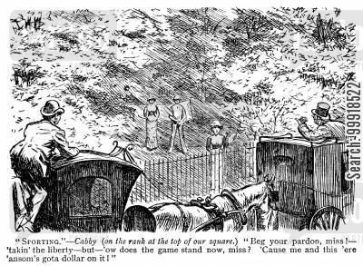 hansom cab cartoon humor: Cab drivers betting on a game of tennis in the park.