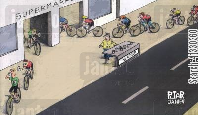 sporting events cartoon humor: Bicycle race.