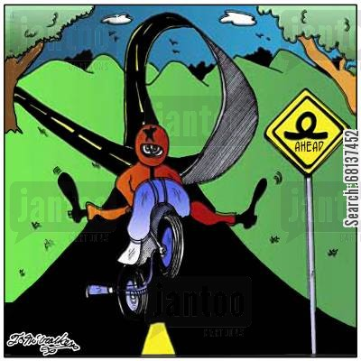 road building cartoon humor: The Biker.