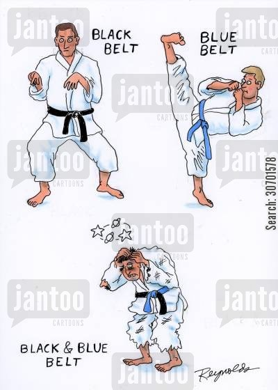 blue belt cartoon humor: Black BeltBlue BeltBlack and Blue Belt.