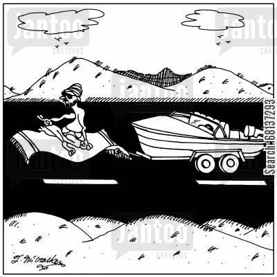 flying carpets cartoon humor: A sultan on a flying carpet towing a boat behind him.