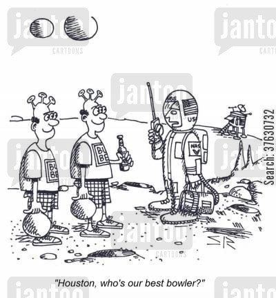 first encounter cartoon humor: 'Houston, who's our best bowler'