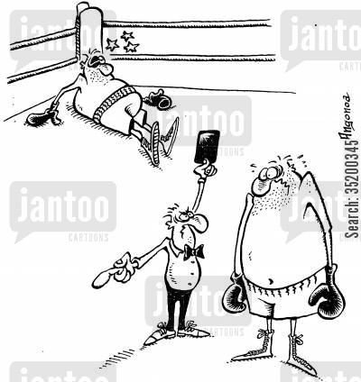 red card cartoon humor: Boxer being sent off with a red card after hitting opponent