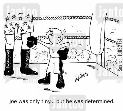 short man cartoon humor: Joe was only tiny... but he was determined.
