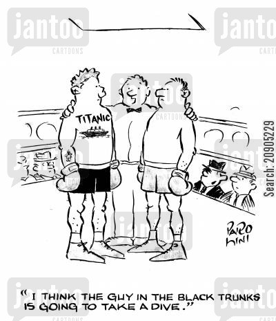 speculating cartoon humor: 'I think the guy in the black trunks is going to take a dive.' (he has Titanic tattoo on his chest).