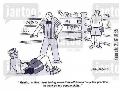 rests cartoon humor: 'Really, I'm fine. Just taking some time off from a busy law practice to work on my people skills.'